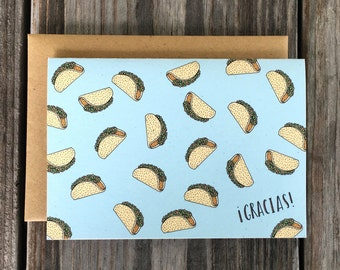 Taco Thank You Card Set, Gracias Thank You Note Cards, Taco Note Cards Set