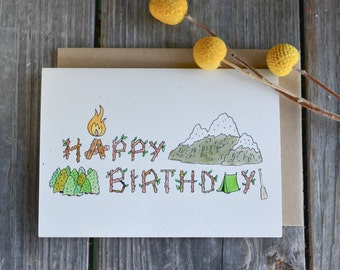 Manly Birthday Card, Camping Birthday Card, Campsite Happy Birthday