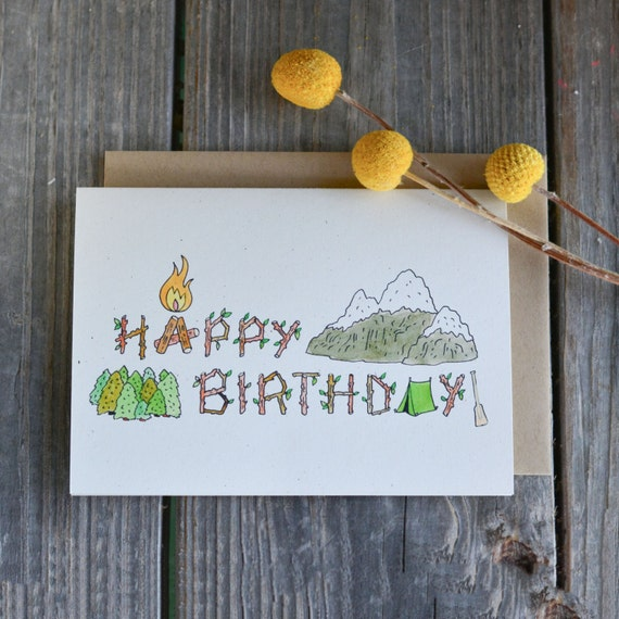Manly Birthday Card Camping Birthday Card Campsite Happy Etsy