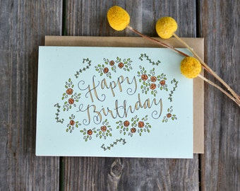 Floral Birthday Card for Her, Happy Birthday Greeting Card, Cards for Friend