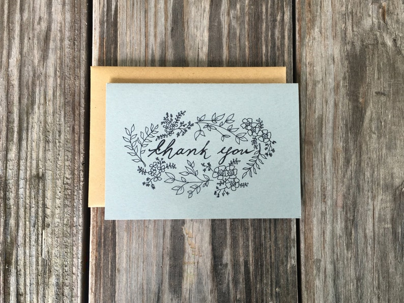 Wedding Thank You Card Set Rustic Wedding Thank You Cards Steel Blue
