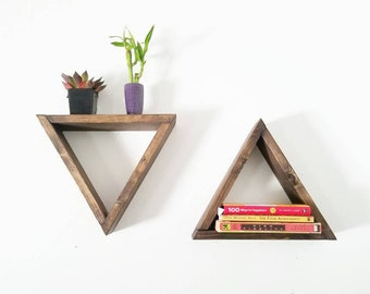 Floating Shelves   Triangle Shelf   Geometric Shelf   Wood floating shelf   Modern shelf   Wood shelf   rustic decor