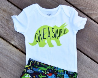 Dinosaur Birthday Outfit Shirt First Baby Boys Shorts Boy
