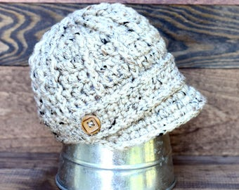 Newsboy Hat, Wheat Color Baby Boy Hat, Crochet Newsboy Hat, Boys Cream Cap, Boys Hat, Preemie Hat, Baby Shower Gift, New Baby Gift