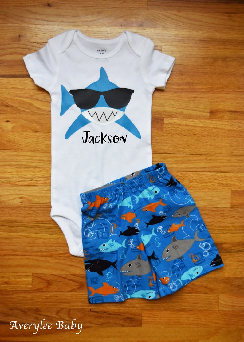 76fe87d2b2d9 Shark Birthday Outfit Baby Boy Shark Onesie® Baby Boys First