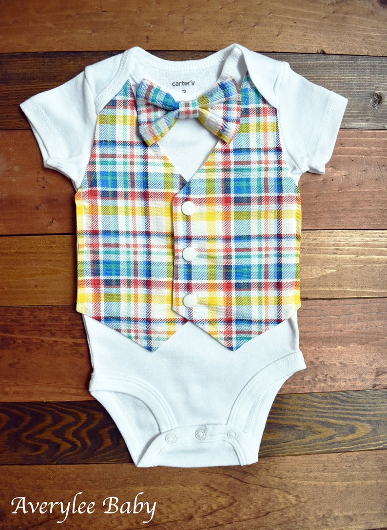 Baby Boy Vest and Bowtie, Baby Boy Madras Plaid Vest, Suit for Baby Boy,  Cake Smash Outfit, Onesie Suit, Baby Boy Vest and Bowtie, Plaid