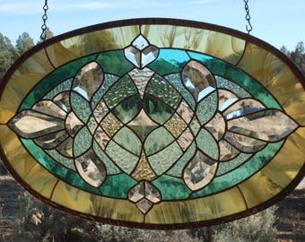 "stained glass window panel ""BEVELS, BEVELS, BEVELS"" hand blown glass, hand poured & rolled glass, custom beveling, suncatcher"