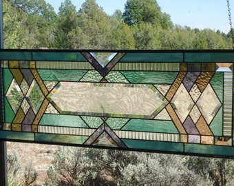 stained glass window panel,  ARTS & CRAFTS , FLW style, stained glass transom, beveled glass, prairie style, stained glass suncatcher