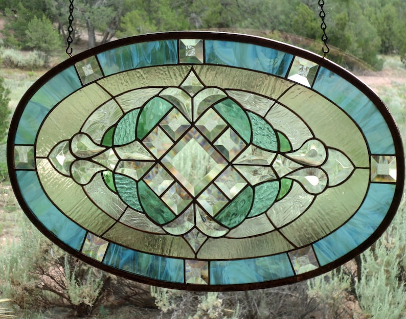 Stained Glass Window Panel Classic Traditional Beveled Glass Stained Glass Oval Stained Glass Suncatcher Stained Glass Window Hanging