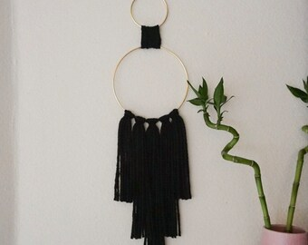 Cecilia Double Circular Minimalist Boho Wall Hanging For Bedrooms, Dorms, Nurserys, or Living Spaces in Black
