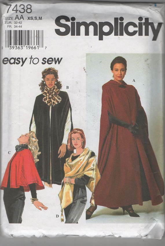 Misses Capes and Wrap Sewing Pattern Vogue 7438 Size 6 | Etsy