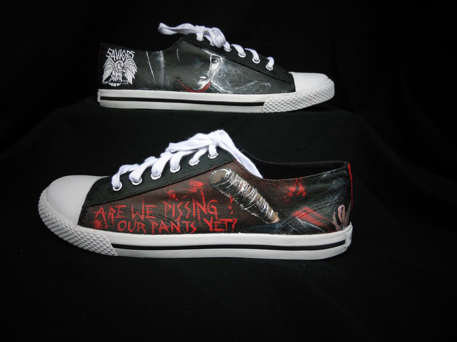 651674309b23 The walking dead negan and lucille handpainted shoes etsy jpg 1500x1125 The  walking dead converse