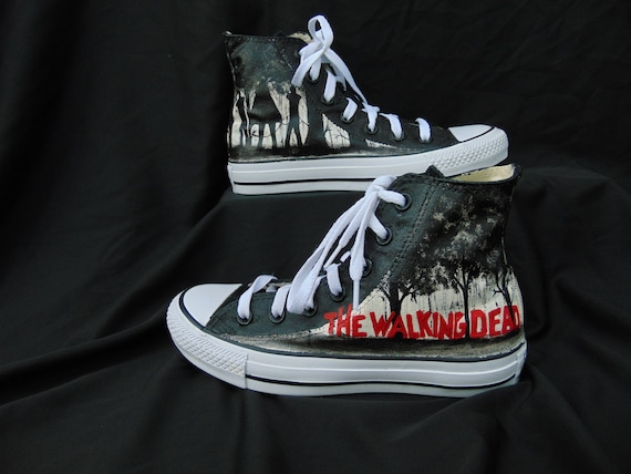 5a850ed80708 The Walking Dead Michonne and Pet Handpainted Converse High