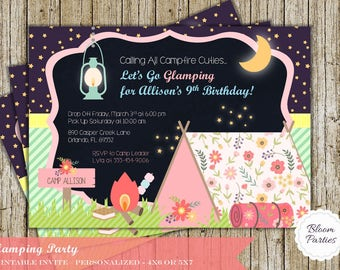 Glamping Invitation Glamping Camping Birthday Party Invites Pretty Vintage Floral Girls Camping Digital Printable