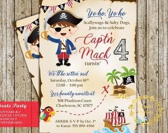 Pirate Birthday Invitation Pirate Party Boy Treasure Hunt Digital Printable Custom Invites
