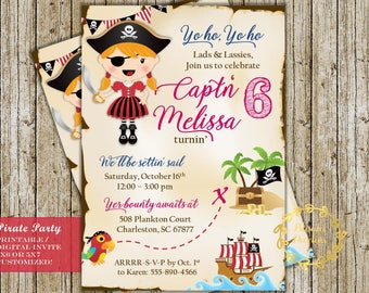 Pirate Birthday Invitation Pirate Party Girls Treasure Hunt Digital Printable Custom Invites