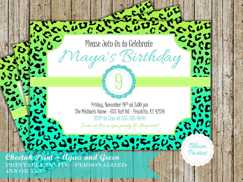 Cheetah Polka Dot Girly Girl Birthday Party Invite Invitation | Etsy