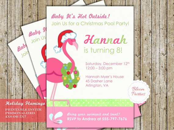 Christmas In July Swimsuit.Christmas In July Invitation Birthday Party Pool Party Flamingo Swim Invite Digital Printable