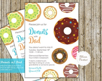 Donuts with Dad Invitation PTO PTA Announcement School Church Event Flyer, Invite Digital Printable Personalized