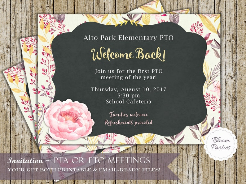 Pta Invitation And Pto Invitation For Pta Meetings And School Etsy
