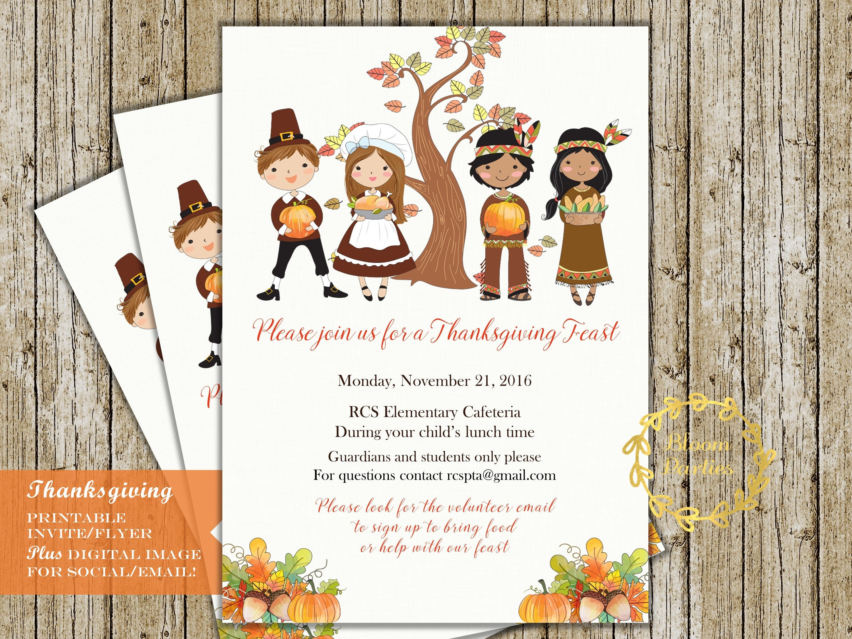 thanksgiving feast invitation for school class pta pto