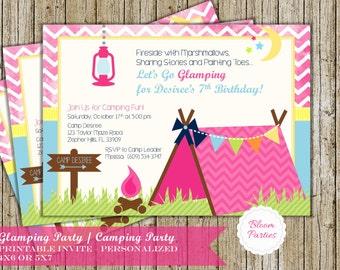 Glamping Invitation Birthday Party Glam Camping Girl Camp Invite Digital Printable DIY