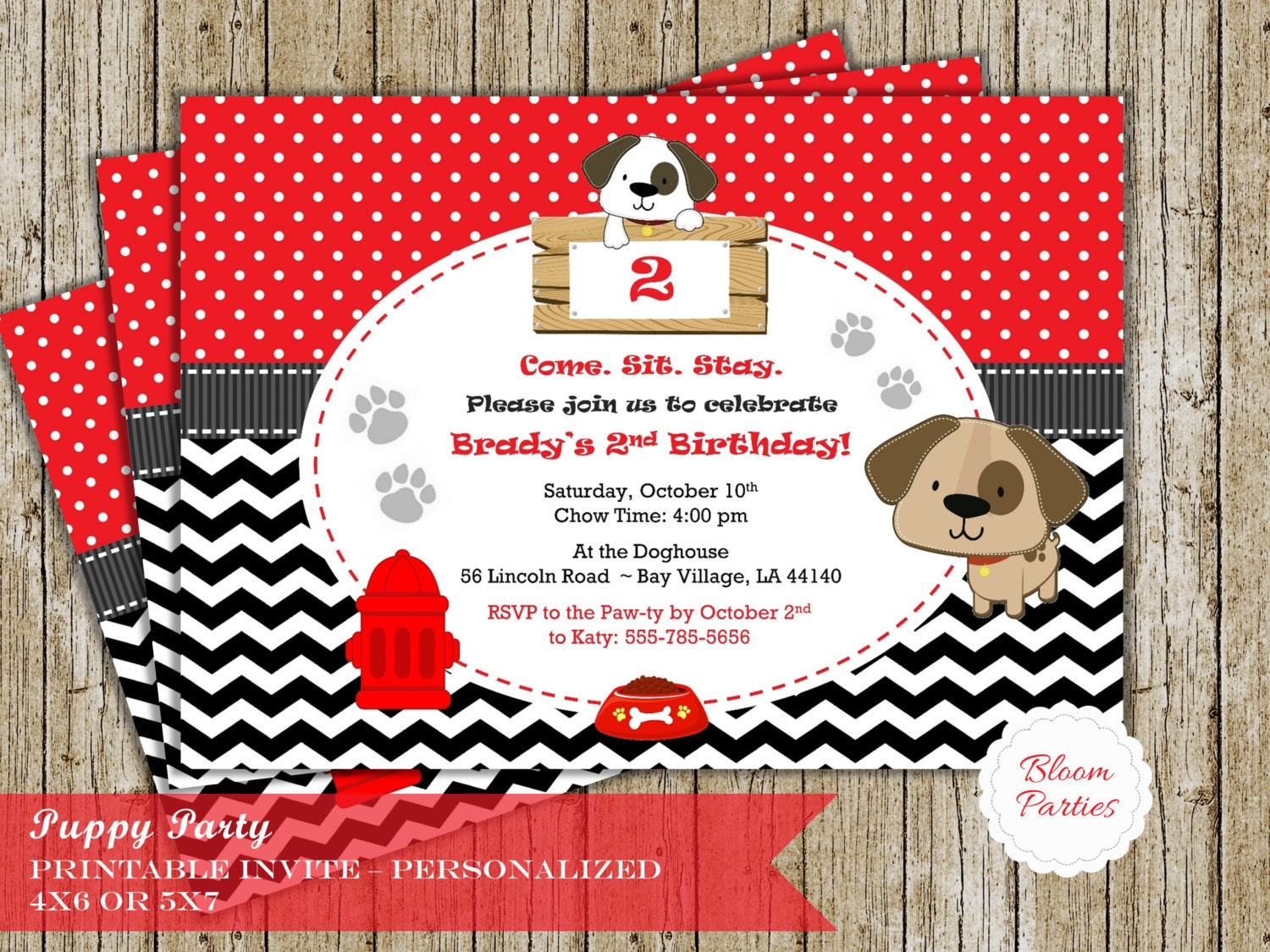 Puppy Party Invitation for Puppy Birthday Party Dog Party Boy