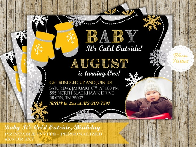 Snowflake First Birthday Invitation Baby It's Cold Outside Mitten Boy or Girl Winter 1st Birthday Party Invite Digital Printable