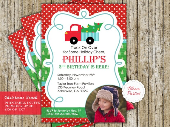 christmas truck birthday invitation christmas birthday red etsy