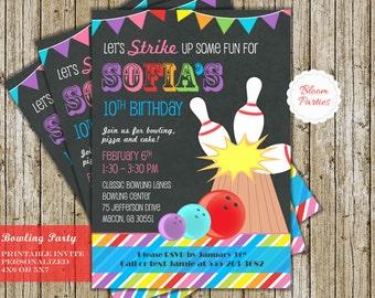 Bowling Invitation Girls Bowling Birthday Invitation Bowling Party Invite Digital Printable Strike Rainbow Chalkboard