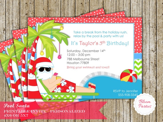 winter pool party invitations