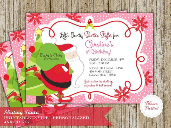 christmas birthday invitation christmas birthday party ice etsy