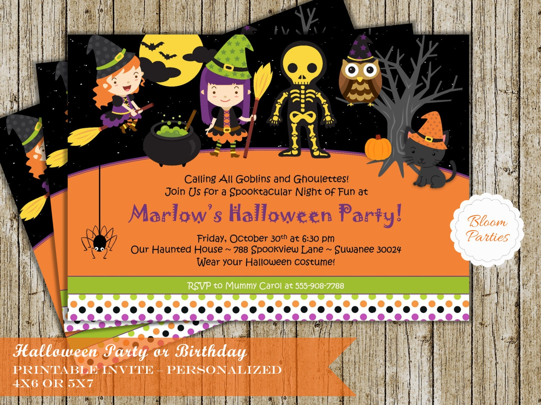 halloween party invitation trick or treat halloween birthday | etsy