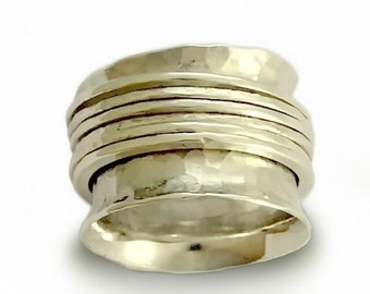 Wide spinner ring, organic band, Spinners Silver band, men woman rustic band, meditation ring, silver wedding band, hammered silver ring