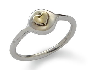 Tiny heart ring, sterling silver and 9K Gold , Round heart ring,Classic handmade jewelry, Dainty Silver Gold ring Two tones heart ring, sale