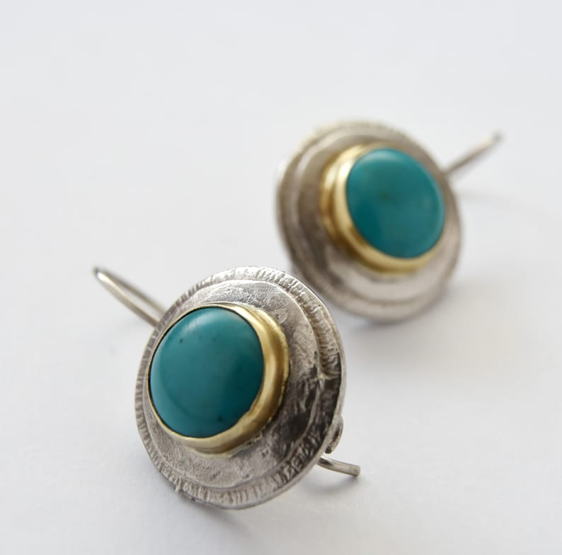 wedding earrings mix metals Earrings 9K Yellow Gold Textured sterling silver Turquoise Vintage earrings Silver Turquoise earrings,Sale