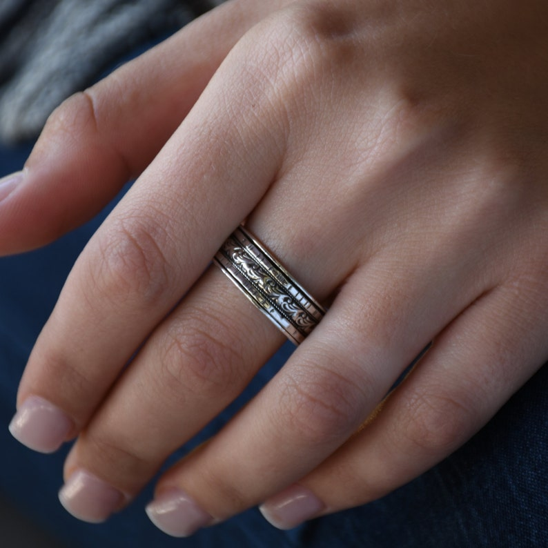 meditation ring fidget ring Anxiety Ring unisex ring Worry Ring silver spinner ring with three spinners spinner ring gift for her