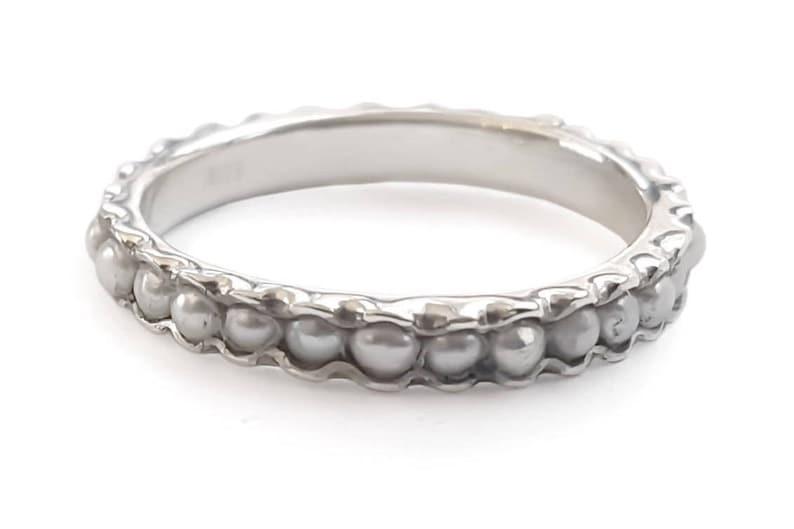 Perlen Band Silber Infinity Ring Perlen Hochzeitsring Etsy