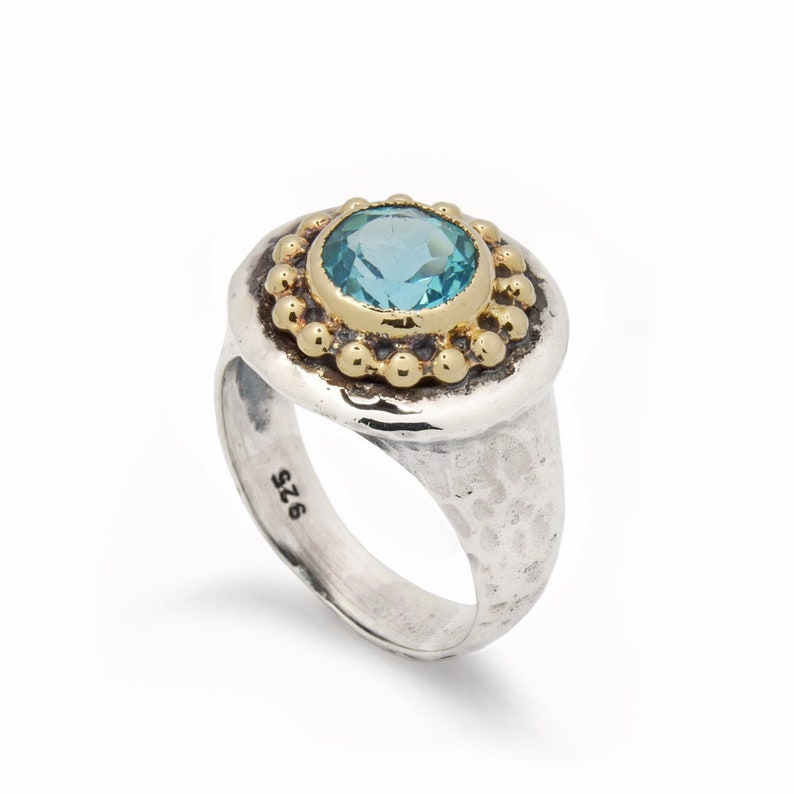 Hammered Silver chunky ring with gold crown and Topaz