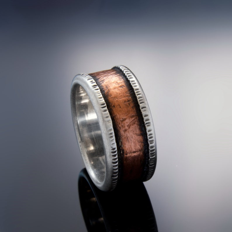Organic Copper and Silver wedding band for men