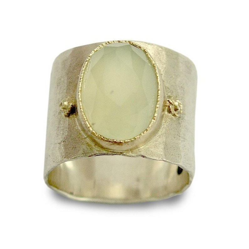 silver band Rustic silver ring Smoky Quartz stone band Two tones band wide everyday ring hammered silver Smoky Quartz bohemian ring