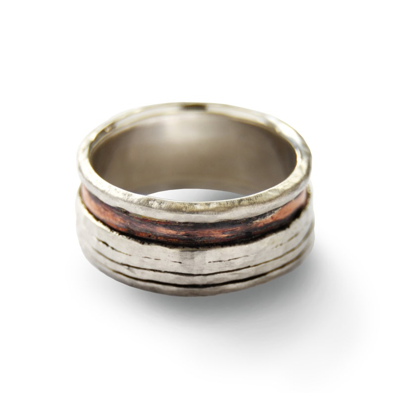 Modern band rustic wedding ring Mixed metals band Men organic band everyday wide band Copper silver spinner ring Two tone men ring