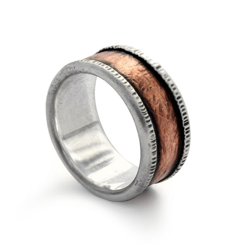 Men Copper and Silver Rustic band