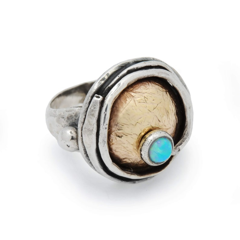Rustic two tone ring with blue Opal