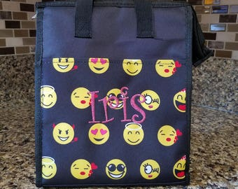 Black Emoji Lunch bag with Personalized Name or Monogram-School lunch bag