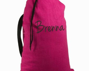 Pink Waffle Weave Laundry Bag w/ Embroidery Fraternities, Sororities, Business Travelers, College students