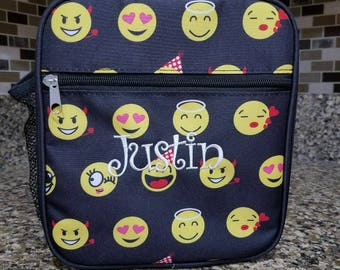 Black Emoji lunch bag w/ Detachable Shoulder Strap with Personalized Name or Monogram-School lunch bag
