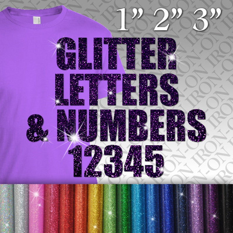 Personalized Iron On Name Neon Letters Numbers Heat Transfer Hot fix Tshirt HTV