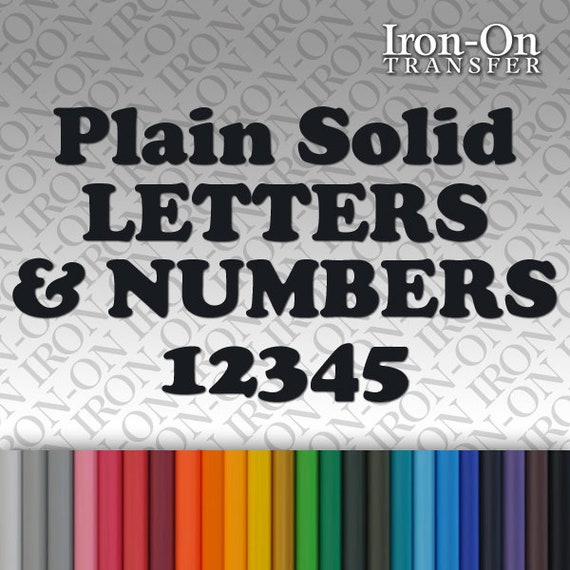 Iron-on Personalized Name Text Plain Solid Letter Number Vinyl T-Shirt Transfer