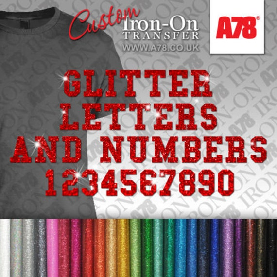 Custom text HOTFIX GLITTER Transfer Iron on Personalised name with number